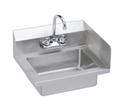 "Elkay EHS-18-S-RX Wall Mount Commercial Hand Sink w/ 14""L x 10""W x 5""D Bowl, Side Splashes"