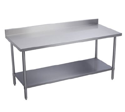 "Elkay EWT24S96-STG-24X 96"" 18 ga Work Table w/ Undershelf & 300 Series Stainless Top, 2"" Backsplash"