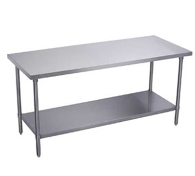 "Elkay EWT24S96-STGX 96"" 18 ga Work Table w/ Undershelf & 430 Series Stainless Flat Top"