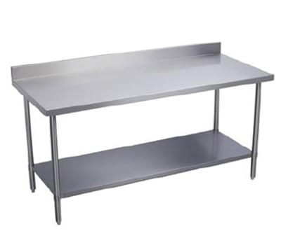 """Elkay EWT30S60-STG-2X 60"""" 18-ga Work Table w/ Undershelf & 430-Series Stainless Top, 2"""" Backsplash"""