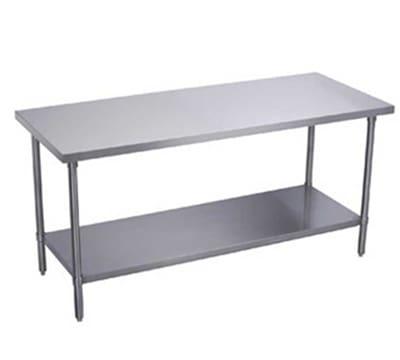 """Elkay EWT30S72-STG-4X 72"""" 18 ga Work Table w/ Undershelf & 300 Series Stainless Flat Top"""