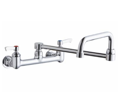"Elkay LK940DS20L2H 8"" OC Wall Faucet w/ 19.5"" Double Joint Swing Spout & Lever Handles"