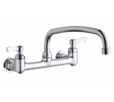 """Elkay LK940TS08L2H 8"""" OC Wall Faucet w/ 10"""" Arched Swing Spout & Lever Handles"""