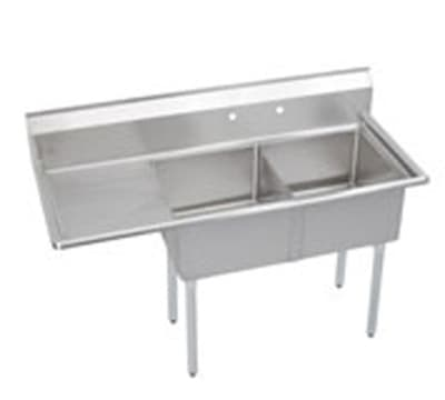 "Elkay S2C18X18-L-18X 56.5"" 2-Compartment Sink w/ 18""L x 18""W Bowl, 14"" Deep"