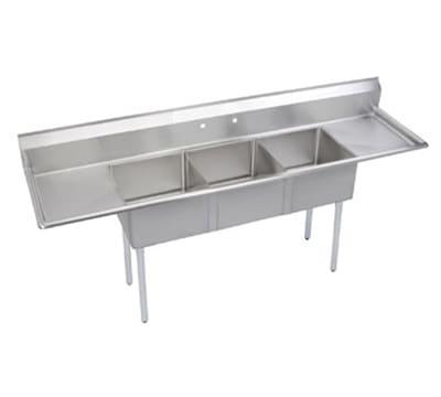 """Elkay S3C18X18-2-18X 90"""" 3 Compartment Sink w/ 18""""L x 18""""W Bowl, 14"""" Deep"""