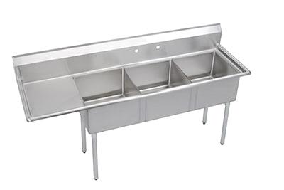 "Elkay S3C18X18-L-18X 74.5"" 3 Compartment Sink w/ 18""L x 18""W Bowl, 14"" Deep"