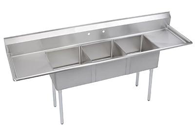 """Elkay SE3C18X18218X 90"""" 3-Compartment Sink w/ 18""""L x 18""""W Bowl, 11"""" Deep"""