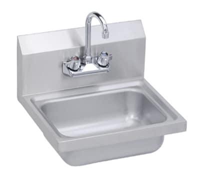 "Elkay SEHS-17X Wall Mount Commercial Hand Sink w/ 14""L x 10""W x 5""D Bowl, Basket Drain"