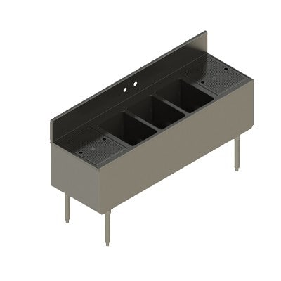 "Elkay UB-3C60X19-2-12X 60"" Underbar Sink w/ (3) Compartments - Left & Right Drainboard, Stainless Steel"