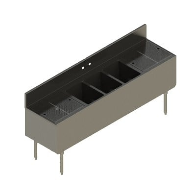 """Elkay UB-3C84X19-2-24X 84"""" Underbar Sink w/ (3) Compartments - Left & Right Drainboard, Stainless Steel"""