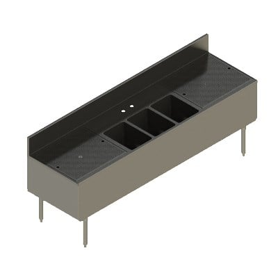 "Elkay UB-3C84X24-2-24X 84"" Underbar Sink w/ (3) Compartments - Left & Right Drainboard, Stainless Steel"