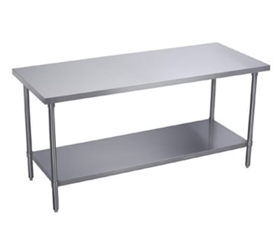 "Elkay WT24S96-STGX 96"" 16 ga Work Table w/ Undershelf & 300 Series Stainless Flat Top"