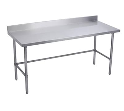 "Elkay WT24X120-BSX 120"" 16-ga Work Table w/ Open Base & 300-Series Stainless Top, 4"" Backsplash"