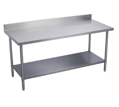 "Elkay WT30S108-BSX 108"" 16 ga Work Table w/ Undershelf & 300 Series Stainless Top, 4"" Backsplash"