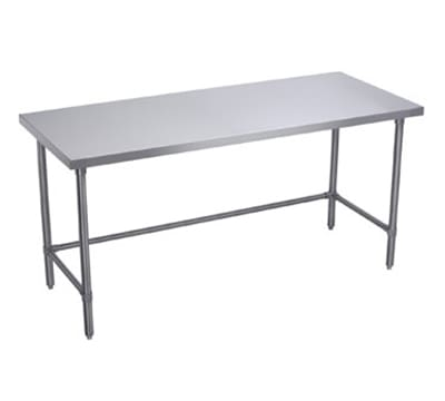 "Elkay WT30X120-STGX 120"" 16 ga Work Table w/ Open Base & 300 Series Stainless Flat Top"