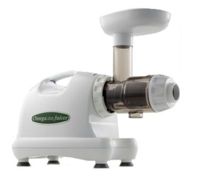 Omega J8004 Low Speed Masticating Juice Extractor w/ Heavy Duty Auger, White