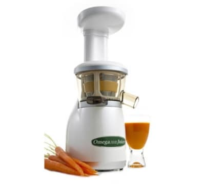 Omega VRT330 Low Speed Vertical Masticating Juicer w/ Auto Clean, Pearl White