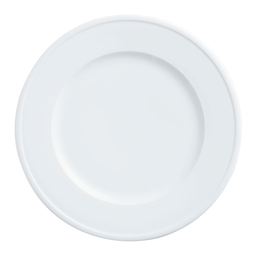 "World Tableware 1502-10270 10 3/4"" Empire Wide Rim Plate - Porcelain, Bright White"