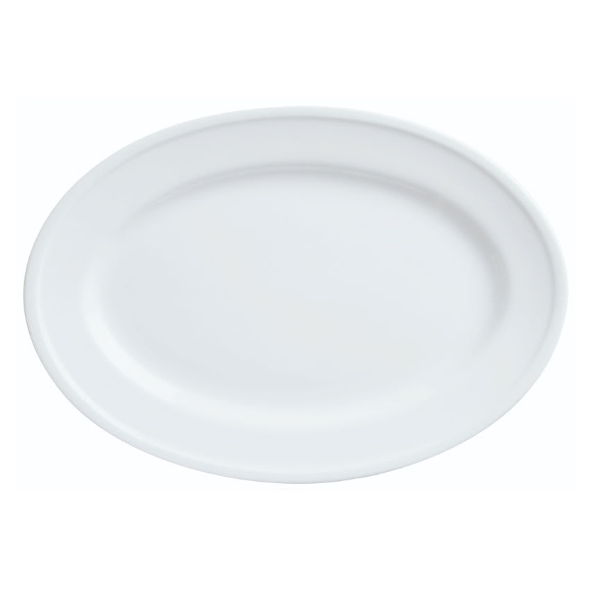 "World Tableware 1502-50310 Oval Empire Platter - 12-1/8x8-7/8"" Porcelain, Bright White"