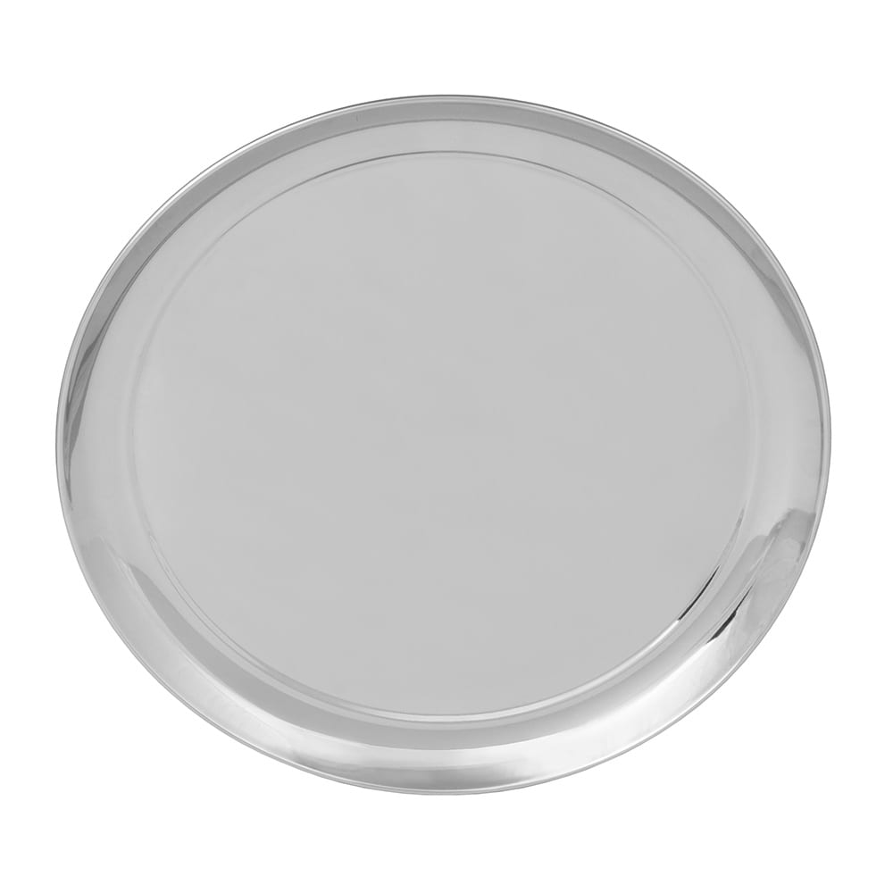 "World Tableware 764105 12"" Round Tray w/ Rolled Edge, 18/8 Stainless"