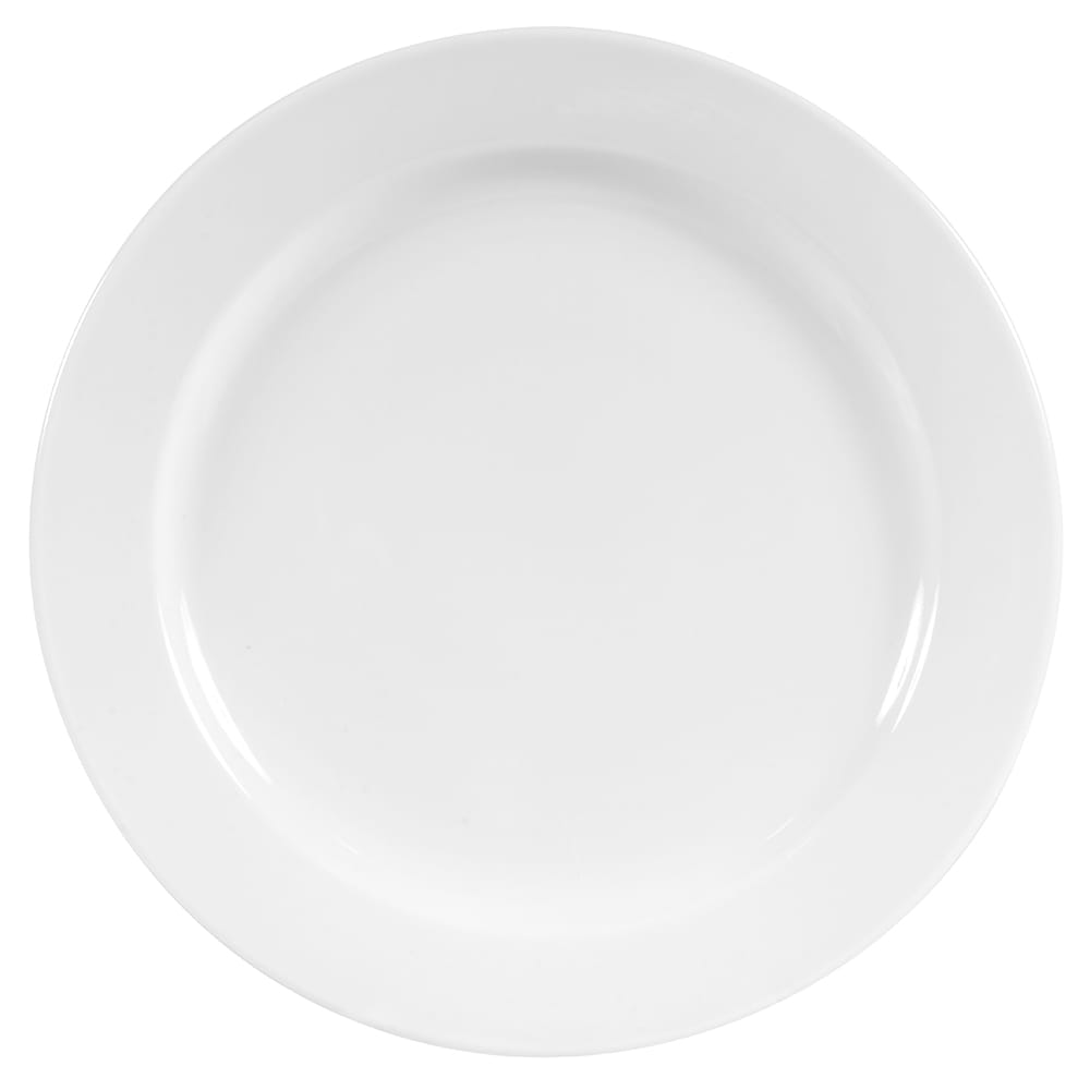 "World Tableware 840-425R-25 9"" Plate - Wide Rim, Rolled Edge, Porcelain, Bright White, Porcelana"