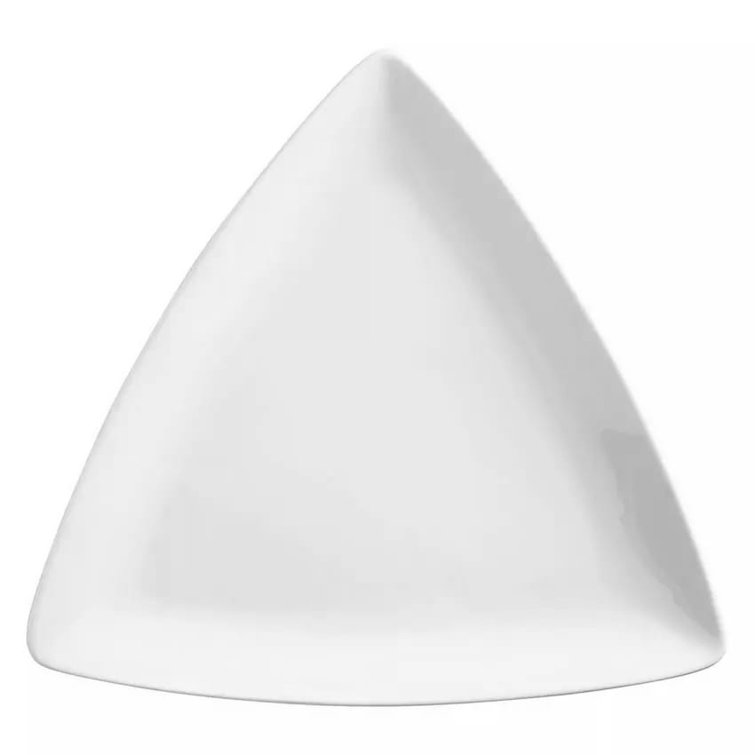 """World Tableware 840-440T 11"""" Porcelain Triangle Plate, Coupe, Bright White, Porcelana"""