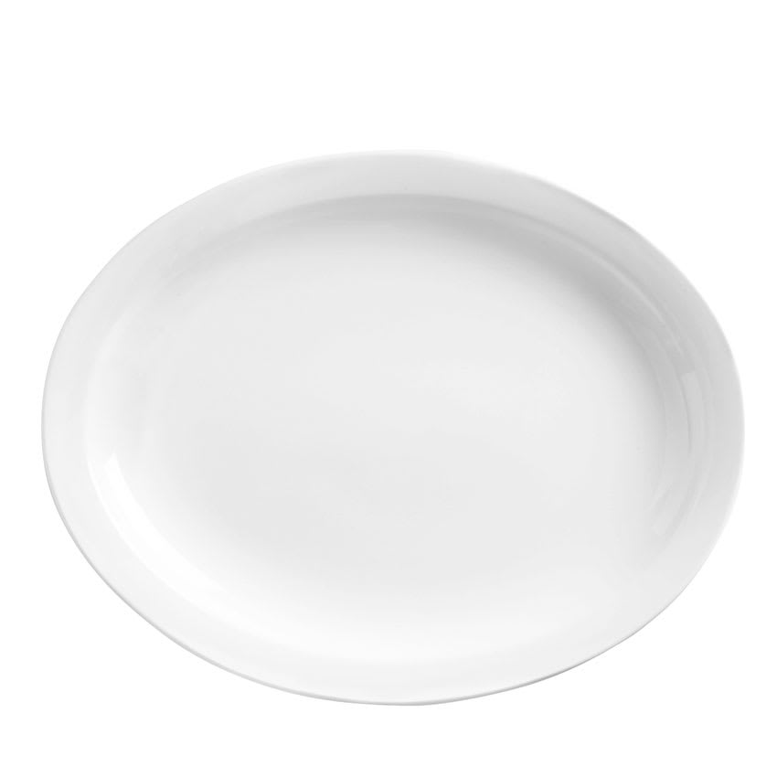 "World Tableware 840-520N-17 11.5x9"" Oval Platter, Narrow Rim, Porcelain, Bright White, Procelana"