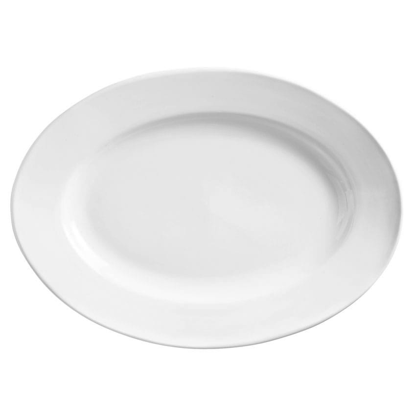 "World Tableware 840-520R-15 15.5"" Oval Porcelain Platter w/ Wide Rim, Rolled Edge, Bright White, Porcelana"
