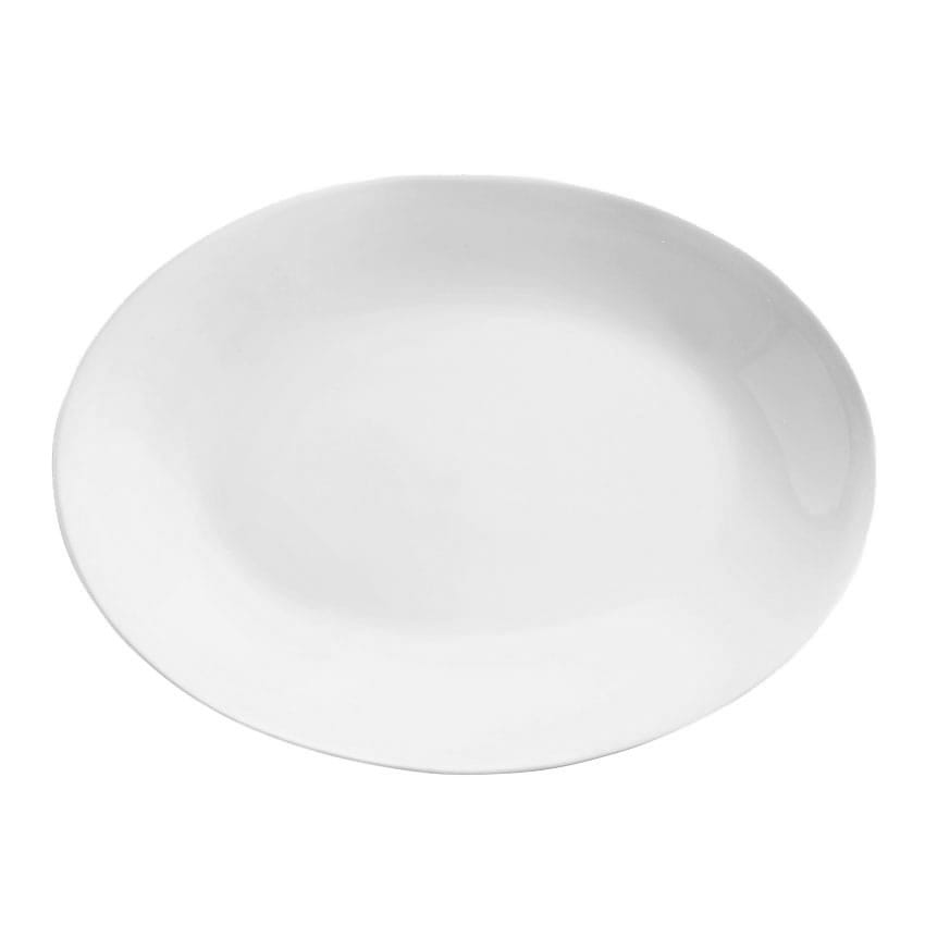 """World Tableware 840-540R-15 15.25"""" Oval Porcelain Platter w/ Rolled Edge, Coupe, Bright White, Porcelana"""