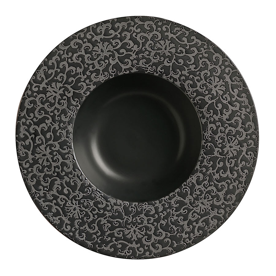 "World Tableware BB-61 13 1/2 oz, 11"" Black Flower Bowl"