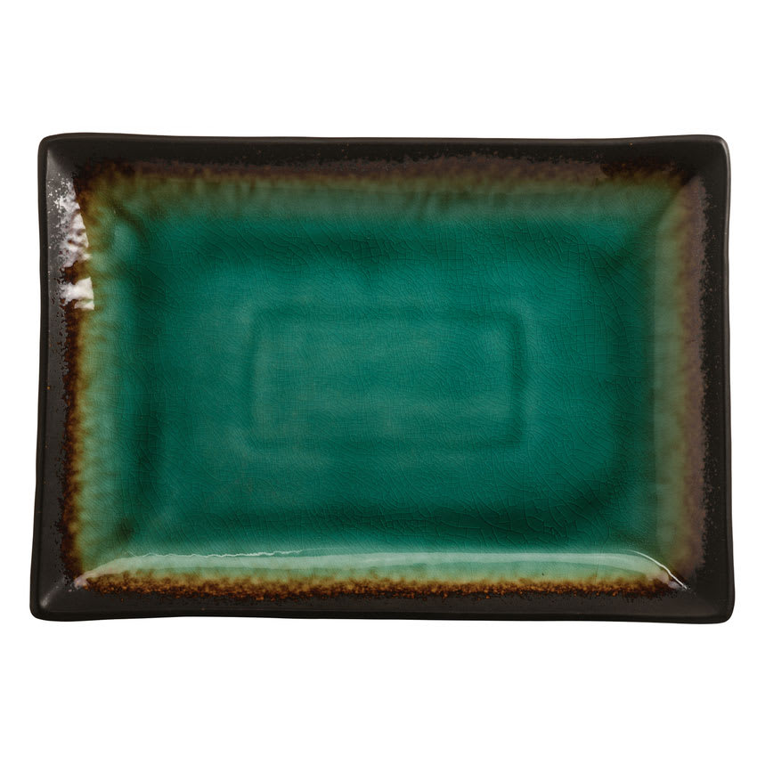 "World Tableware BF-13 Rectangular Ceramic Platter, 13"" x 9.25"", Turquoise w/ Dark Brown Rim, Hakone"