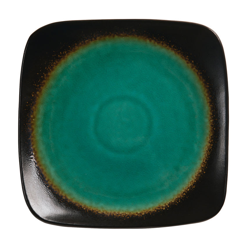 "World Tableware BF-6 6.25"" Square Plate, Turquoise Well w/ Dark Brown Rim"