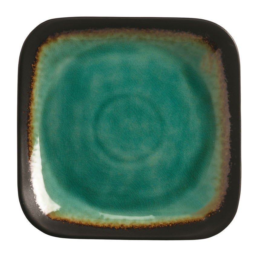 "World Tableware BF-8 9"" Square Ceramic Plate, Turquoise w/ Dark Brown Rim, Hakone"