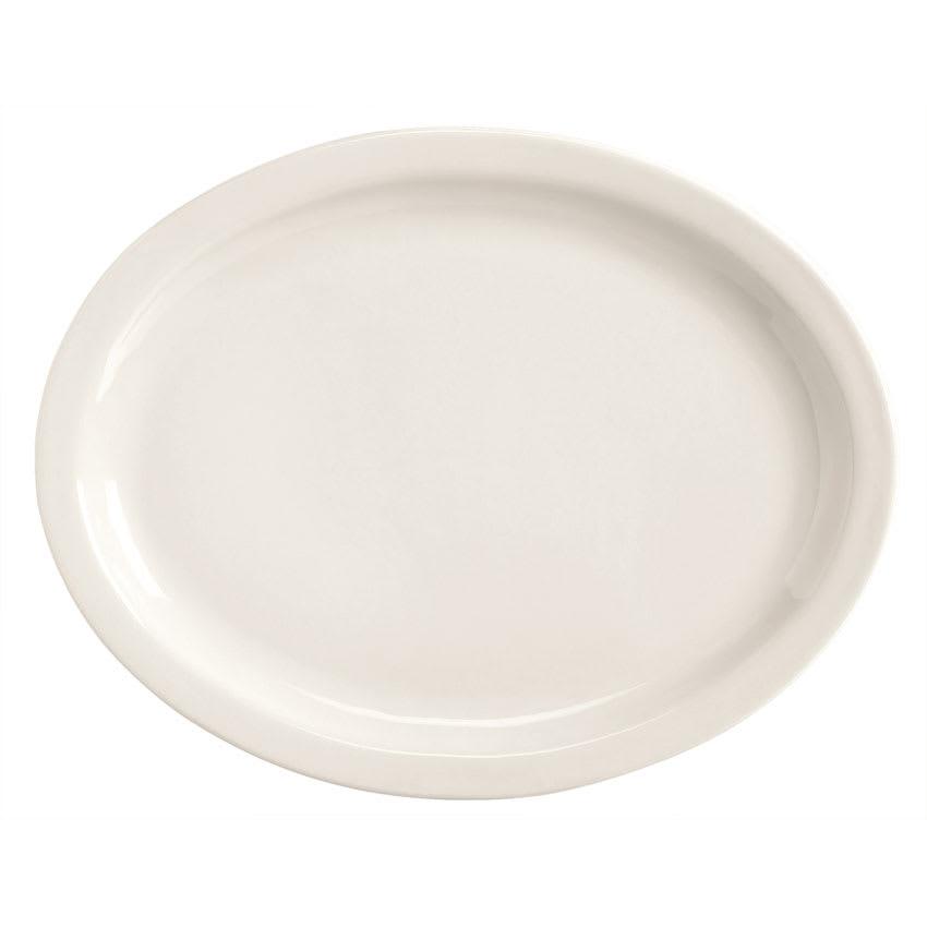 World Tableware BNR-13-BW Bright White Narrow Rim Platter, Tenacity, Oval