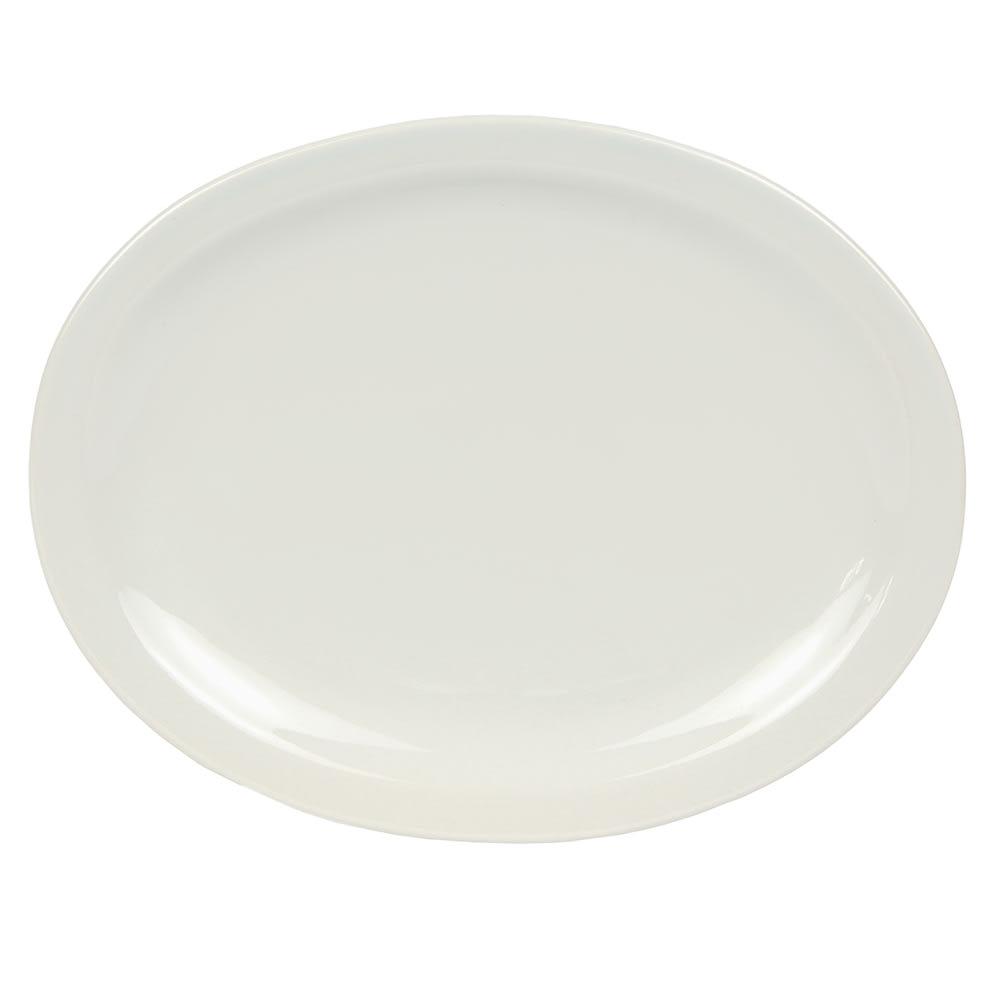World Tableware BNR-13-CW Cream White Narrow Rim Platter, Tenacity, Oval