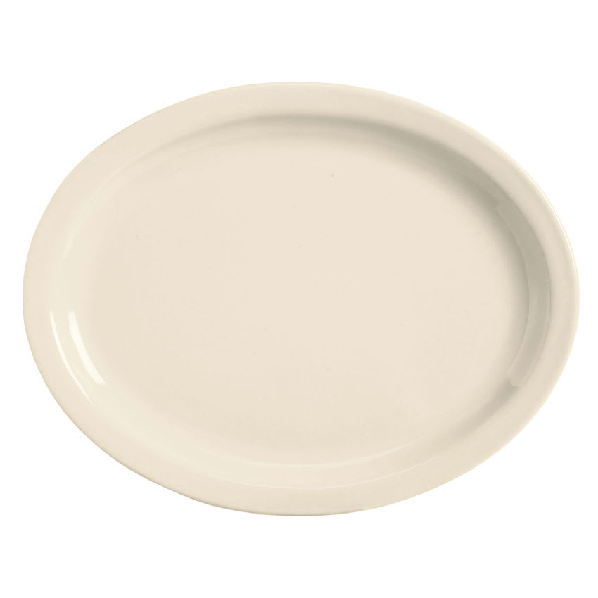 World Tableware BNR-14-CW Cream White Narrow Rim Platter, Tenacity, Oval
