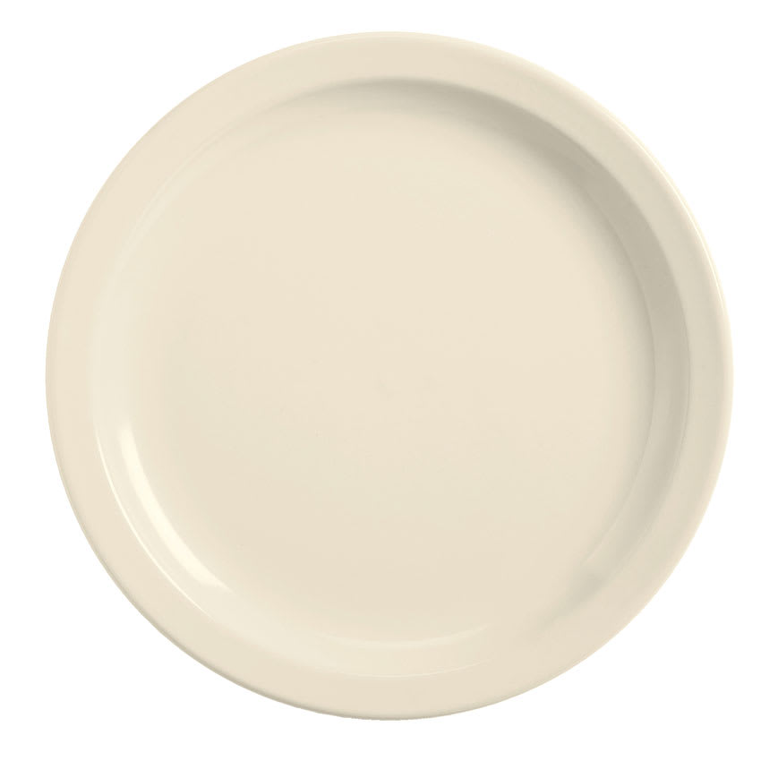 World Tableware BNR-9-CW Cream White Narrow Rim Plate, Tenacity, Round