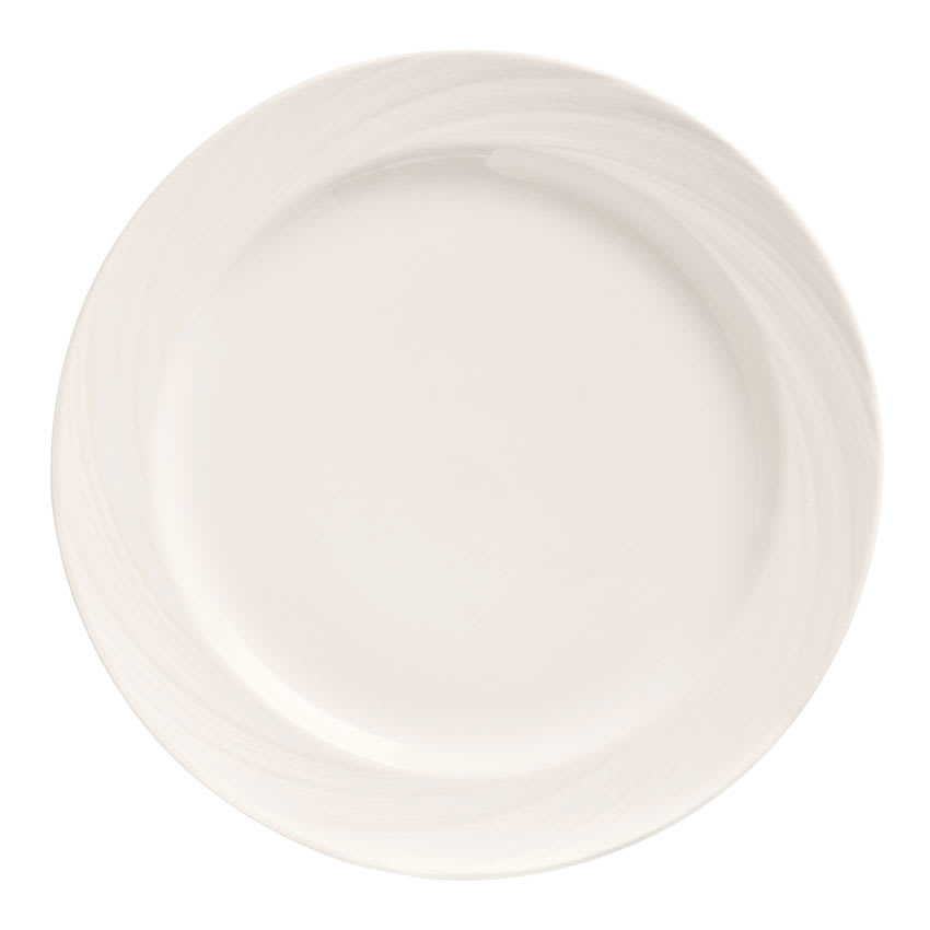 "World Tableware BO-1100 12-1/2"" Basics Orbis Plate - Medium Rim, Porcelain, Bright White"