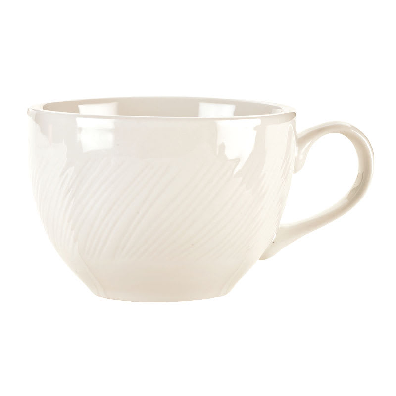 World Tableware BO-1152 8-oz Basics Orbis Eared-Handle Cup - Porcelain, Bright White