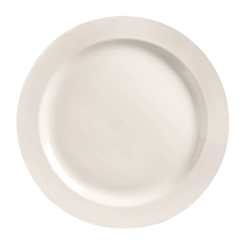 "World Tableware BW-1105 10"" Plate - Round, Medium Rim, Porcelain, Bright White, Basics Collection"