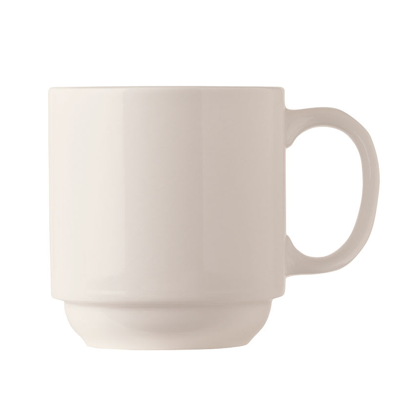 World Tableware BW-1114 11-1/2-oz Stackable Mug - Porcelain, Bright White, Basics Collection