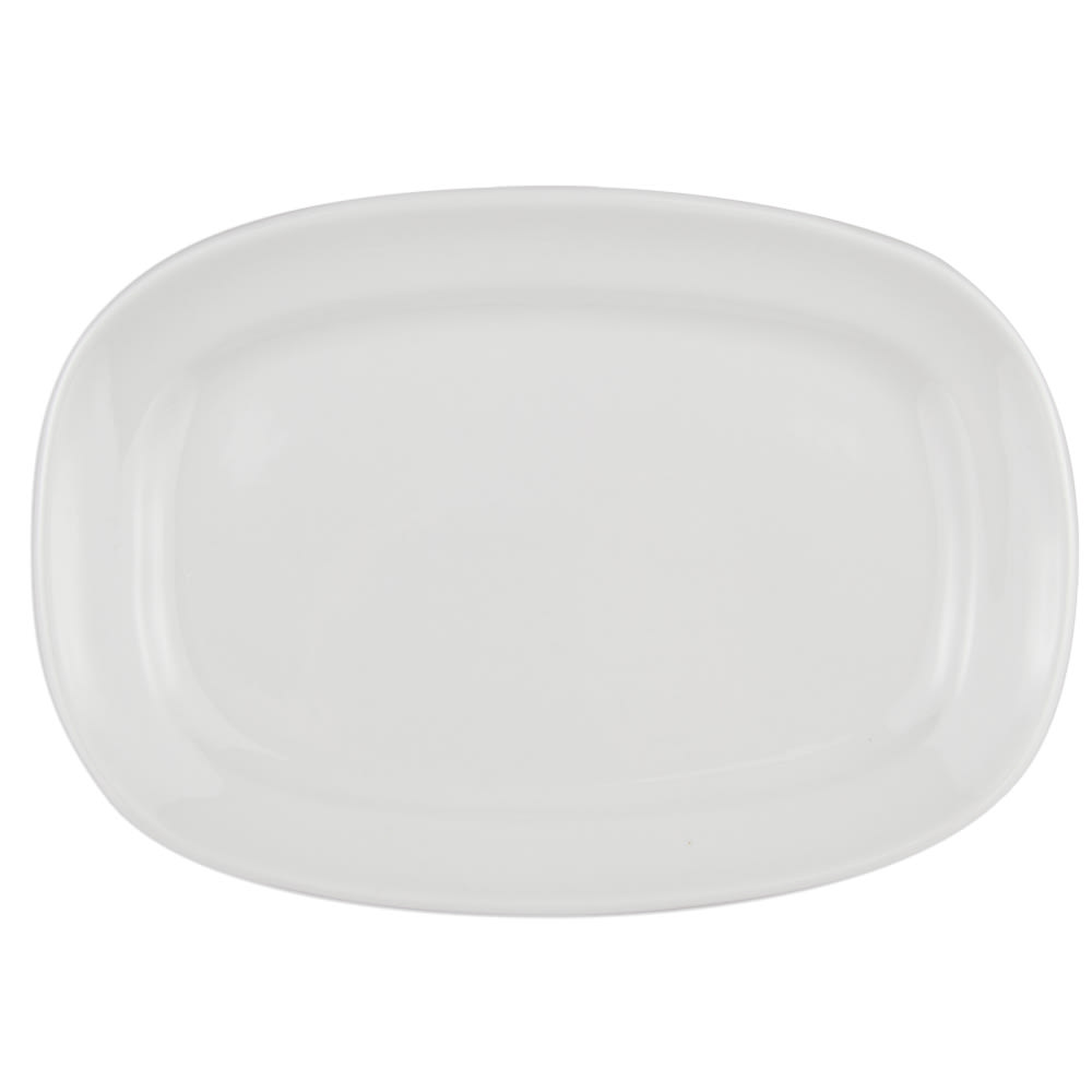 "World Tableware BW-1123 10.5"" Porcelain Oblong Racetrack Plate, Basics Collection"