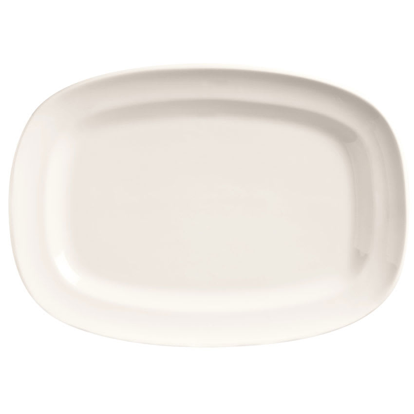 "World Tableware BW-1124 12"" Porcelain Oblong Racetrack Plate, Basics Collection"
