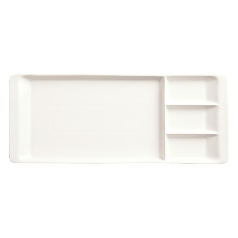 "World Tableware BW-3331 Rectangular Tray - 15-1/4x6-1/4"" Porcelain, Ultra Bright White, Chef's Selection"