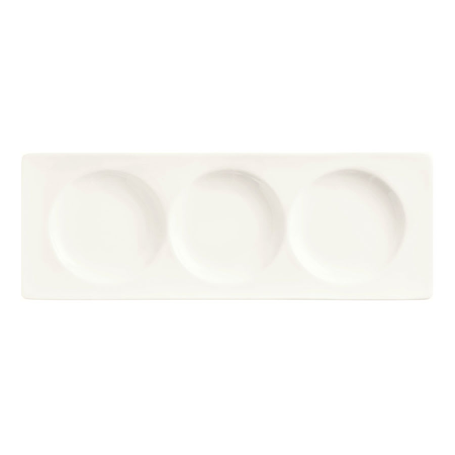 World Tableware BW-3333 Porcelain Rectangular Tray w/ 3-Wells, Chef's Selection