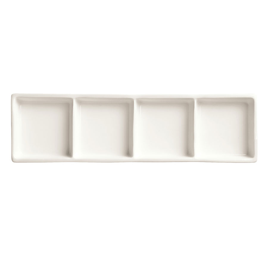 "World Tableware BW-4444 Rectangular Tray - 10-5/8x3-1/4"" Porcelain, Ultra Bright White, Chef's Selection"