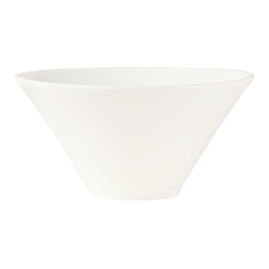 World Tableware BW-5107 16 oz Conical Normandy Bowl - Porcelain, Ultra Bright White, Chef's Selection