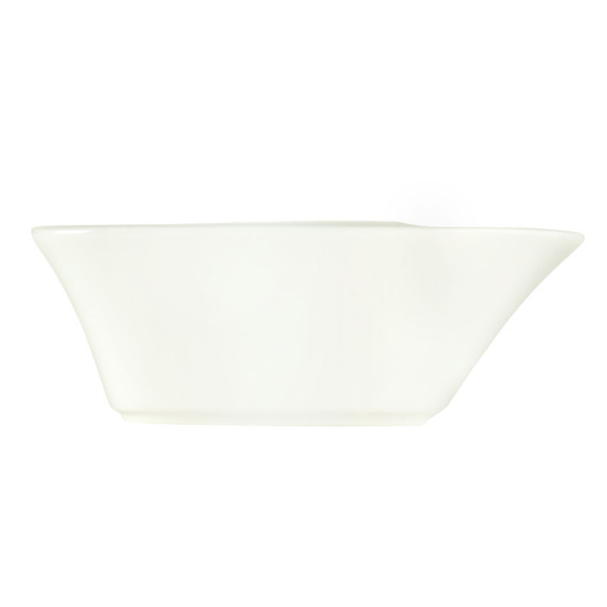 "World Tableware BW-5215 6 3/4"" Bar Snack Dispenser - Boat-Shaped, Porcelain, Ultra Bright White, Chef's Selection"