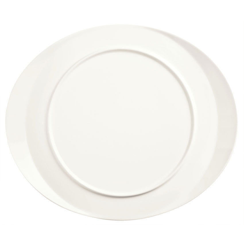 "World Tableware BW-6713 Oval Monorail Plate - 13x11"" Porcelain, Ultra Bright White, Chef's Selection"