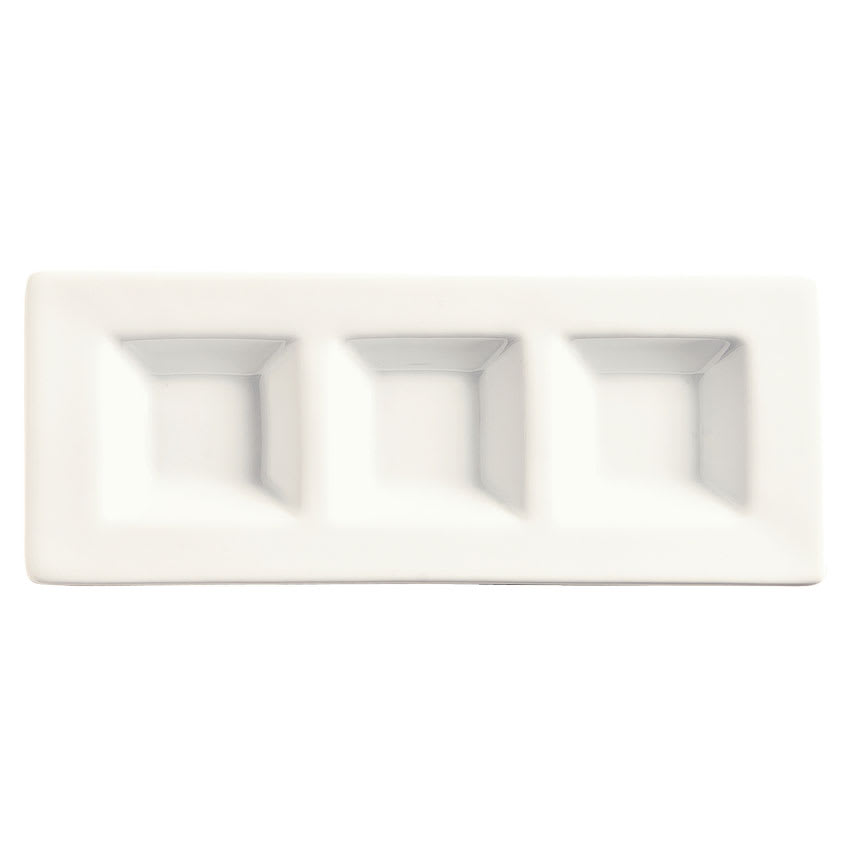 World Tableware BW-6719 Rectangular Micro Tray - Porcelain, Ultra Bright White, Chef's Selection